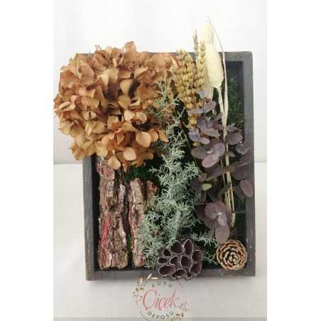 Canlı Yosun Tablo Şoklanmış Çiçekli (23cm*30cm)